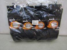 Pack Of 12 - SockNation - Men's Thermal Socks - Size 6-11 - New & Packaged.
