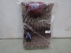 Accessories - White & Burgundy Dyed Knitted Wool Hat & Scarf Set - New & Packaged.