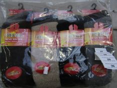 Pack Of 12 - Thermal - Men's Winter Brushed Thermal Socks - Size 6-11 - Assorted Colours - New &