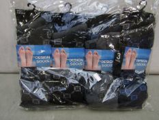 Pack Of 12 - Fresh Feel - Design Socks - (Assorted Colours ) - Size 6-11 - New & Packaged.