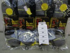 Pack Of 12 - Ultimate Trainer - Work Socks (Cushioned Heel) - Size 6-11 - New & Packaged.