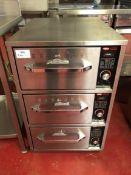 Hatco Heatmax HDW-3N stainless steel three drawer food warmer