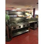 Hatco Heatmax four bay heated bain marie with mounted two tier stainless steel gantry shelving