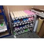 Large Quantity of Textile Transfer Film & (3) Chrome Wire Racks