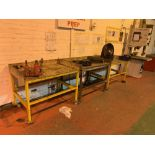 (3)Steel framed mobile workbenches with bench mounted vice
