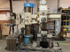 Excel RD-1100 radial drill with three metal cabinets, associated tooling and spare setter bed