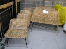 (4) Steel framed bamboo garden chairs and (3) benches