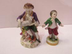 Sitzendorf porcelain boy with lamb figurine together with a Naples porcelain small boy figurine
