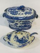 "Willow pattern covered tureen; with a blue and white Doulton, Burslem ""Sydenham"" covered tureen."