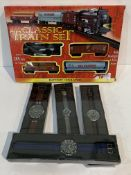 "4 new fashion wrist watches and a new boxed ""Classic Train Set"""