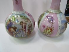 A pair of Limoges style decorative vases, height 34cms.