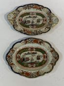 2 Mason's ironstone china side plates hand painted with Chinese scenes.