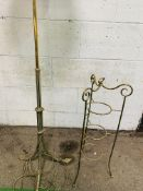 Decorative brass lamp standard to 3 feet, height 140cms; together with a brass 3 tier cake stand.