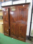 Edwardian Mahogany 3-section Wardrobe.