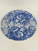 Large blue and white floral pattern platter, registration mark dated 1878
