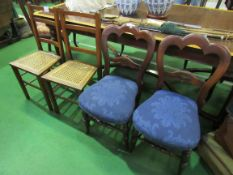 2 cane seat chairs and 2 mahogany framed dining chairs.