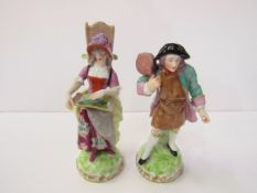 Pair of 18 / 19th century Derby-style hard paste porcelain figures