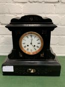 Polished slate mantel clock with marble inserts.