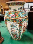 Very large bulbous Chinese Famille verte vase.
