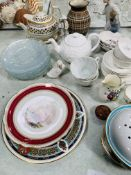 Assorted china ware including Wedgwood part tea service, a Nao figurine, other china ware, and 12 gl
