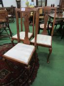 3 oak high back chairs with drop-in seats.