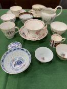 Collection of 19th century hand painted porcelain bowls and saucers; with 3 Chinese porcelain bowls