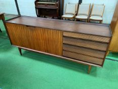 1950s teak sideboard with 2 cupboards and 4 graduated drawers.