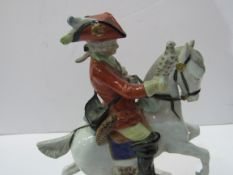Scheibe-Alsbach porcelain figurine of rider with hawk on horseback