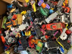 Large quantity of well used die-cast toy vehicles