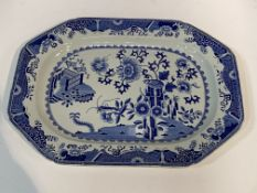 Willow pattern meat plate; blue & white Spode serving plate decorated with oriental style foliage.