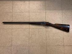AYA 12 bore side by side Yeoman model shotgun, 1973, serial number 408025, 71cm barrels.