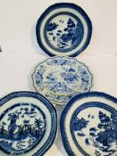 2 blue and white willow pattern octagonal bowls, diameter 24cms; blue glazed Chinese pattern octagon