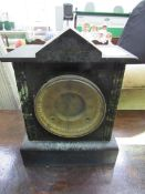 Slate and marble cased mantel clock by Ansonia Clock Co.