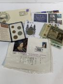 3 First day covers, other stamps, and a qty of bank notes