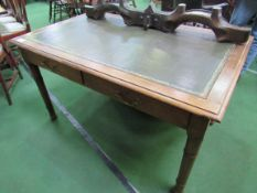 Mahogany writing table with leather skiver and 3 frieze drawers.