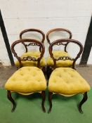 4 balloon back Victorian dining chairs with cabriole legs, buttoned upholstered seats.