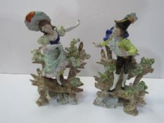 Pair of Scheibe-Alsbach figurines of a girl standing on a bench and boy standing on a bench