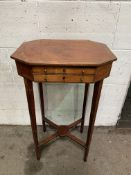Mahogany octagonal top display table with 2 frieze drawers.