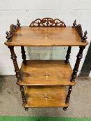 Inlaid mahogany rectangular 3 tier wotnot.