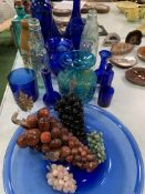 11 pieces of blue glass; 4 glass grape bunches; Art glass blue and yellow vase; 2 vintage lemonade b