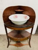 Mahogany 3 tier corner wash stand, drawer to middle tier, complete with ceramic bowl.