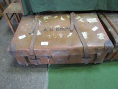Leather small trunk/suitcase with straps.
