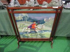 Mahogany framed tapestry fireplace screen