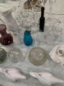 Large qty of glass and china ware incl: 2 Portmeirion parian porcelain jugs; 2 pieces of Dartington.