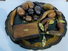 "Lacquer tray; qty of polished wood ""fruit"" ; brass bound wooden box; miniature black wood box."