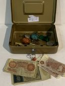 Tin of coins and bank notes together with a mahogany box containing a quantity of costume jewellery