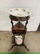Mahogany triangular shaped washstand, complete with Portmeirion bowl and jug.