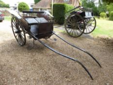MARKET CART built by Vincents of Reading, to suit 13 to 15hh. The body is in natural varnished wood