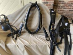 Set of new single harness by Ideal to fit cob/full size, 22ins x 10ins collar; new