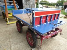 TROLLEY to suit 14-16 hh cob. Painted blue and red, with varnished bed, on 3 stud wheels with pneum